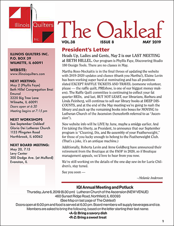 May, 2019 edition of The Oak Leaf newsletter
