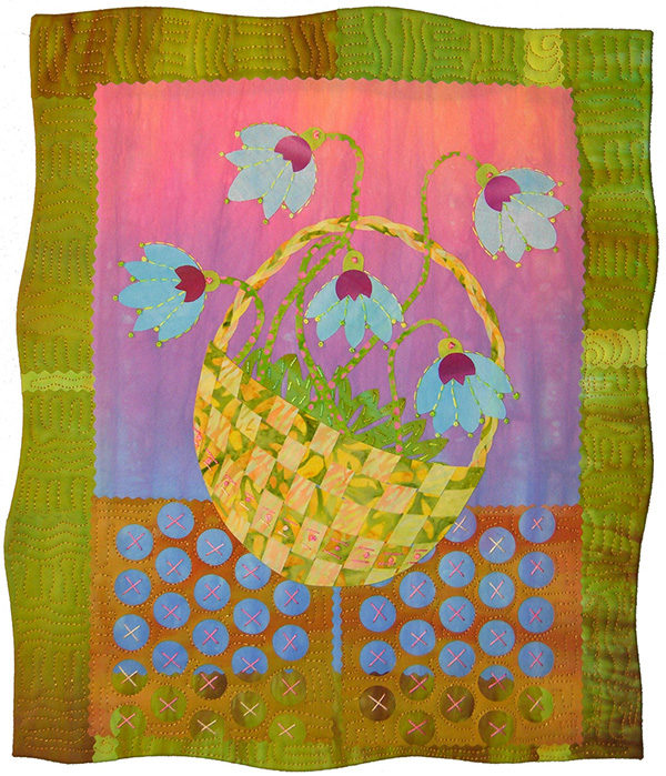 An art quilt of blue flowers in a round basket