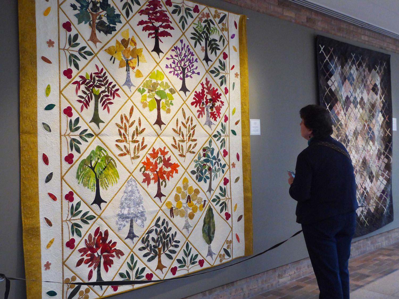 Viewing a quilt exhibit.