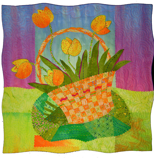 An art quilt of a basket of flowers