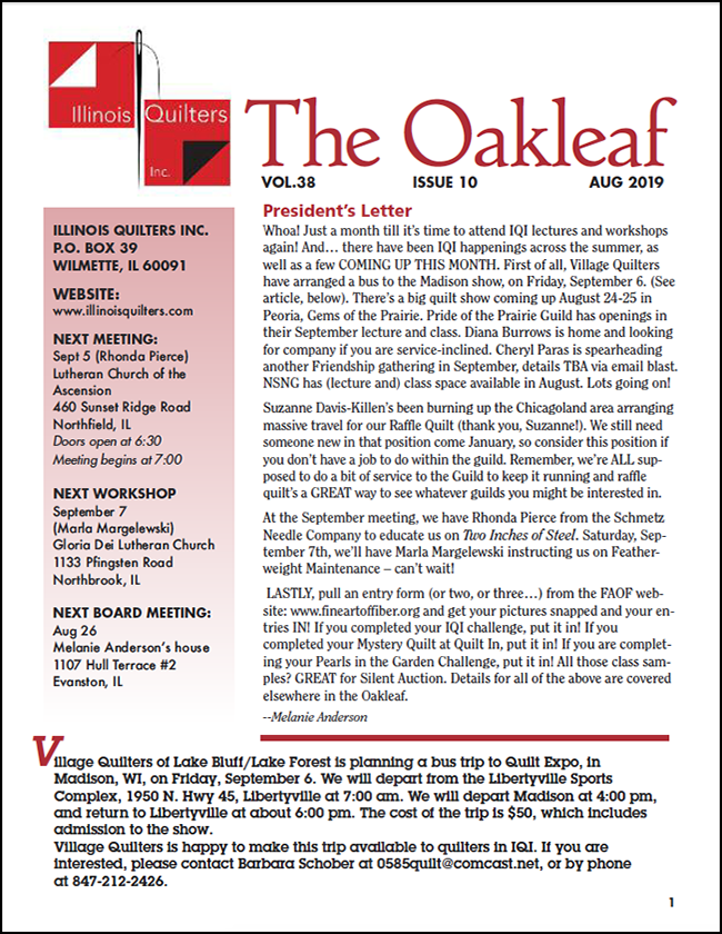 August 2019 issue of The Oakleaf