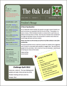 October 2011 issue of The Oakleaf
