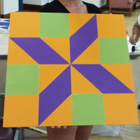 A colorful barn quilt pattern